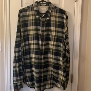 Lucky Brand Men's XL Green Plaid Shirt